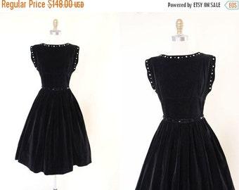 ON SALE 1950s Party Dress - Vintage 50s Dress - Black Velveteen Button Rhinestone Novelty Full Skirt Cotton Party Dress M - Button Babe Dres