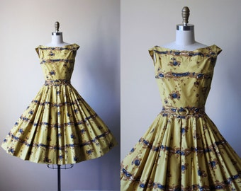 50s Dress - Vintage 1950s Dress - Mustard Brown Black Border Print Floral Full Skirt Cotton Sundress XS - Tiger's Eye Dress