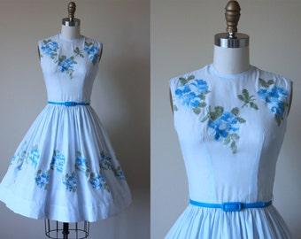 50s Dress - Vintage 1950s Dress - Blue Rose Embroidered Voile Garden Party Dress XS - Fondest Desire Dress