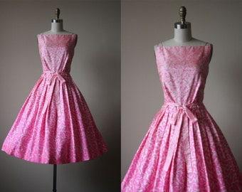 50s Dress - Vintage 1950s Dress - Hot Pink White Novelty Leopard Print Silk Full Skirt Sundress S M - Animal Magnetism Dress