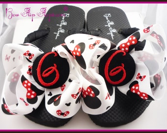 Your Personalized Disney Vacation Flip Flops! Any initial and all sizes for girls & ladies. Mickey Mouse Bow Monogrammed. Disney Cruise