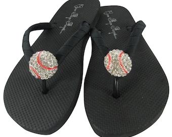 Baseball Flip Flops Bling Softball Flip Flops Rhinestone Custom design sports team Mom Girl Ribbon sandals shoes game ribbon gift coach