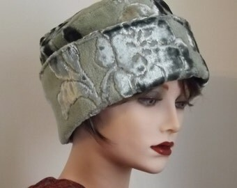 Green Velvet Hat, Brocade Fabric Hat, Bucket Hat, Art Deco Hat