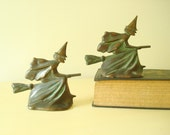 Vintage witch bookends, rare bronze antique bookends, witch on broomstick, Wiccan pagan witchcraft, Halloween decor