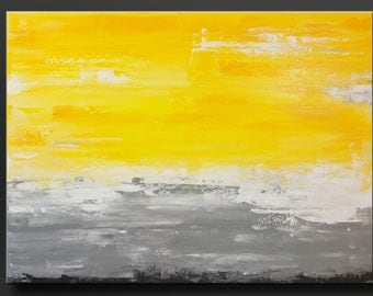 First Light 2 - 30 x 40 - Abstract Acrylic Painting - Fine Art - Gray Yellow Large