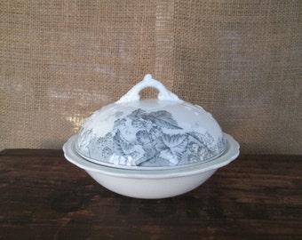 White Ironstone Soap Dish Shades of Gray Grey Transferware Victorian Bathroom Transferware dish, French country cottage chic bath