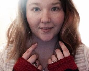 Fingerless Knit Pokeball Gloves