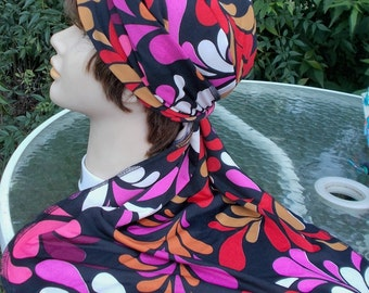 XLONG STRETCH Knit WOMENS Dorag Biker Chemo Cancer Polyester Spandex Floral Skullcap