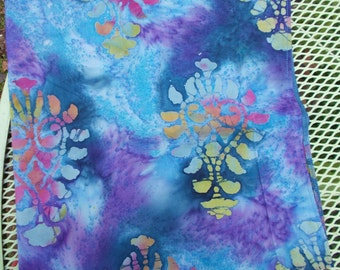 BATIK COTTON Handmade Bandana Womens Teen Biker Cancer Welders BLUES Pinks Yellows Purples