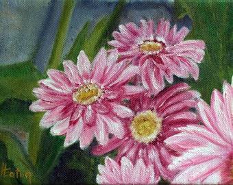 Flower Painting, Pink Flower, Original Oil Painting, Daisy Painting, Pink Daisies, Pink Daisy, Gerbena Dasies, Helen Eaton