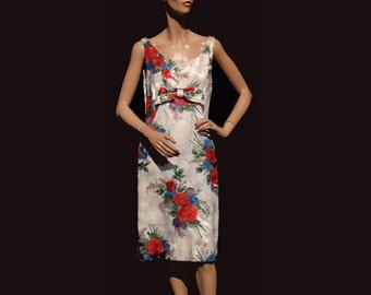 Vintage 1960s Dress - Floral Brocade Lame - M