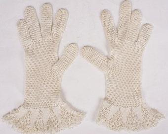 1930s White Crochet Gauntlet Gloves - 7