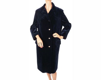 Vintage 1960s Velvet Coat - Royal Blue - Rainmaster - M