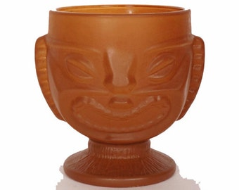Vintage Tiki Bowl Amber Frosted - Indiana Glass