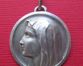 Vintage French Silver Virgin Mary Religious Medal Catholic Pendant   SS317