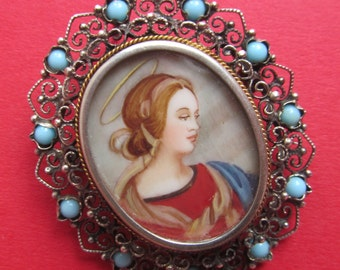 Antique Religious Brooch Pendant 800 Silver Hand Painted Miniature Virgin Mary