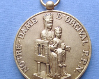 Virgin Mary Jesus Notre Dame D Orcival Antique Religious Medal Madonna Pendant SS522