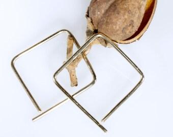 Gauged Earrings, Sterling Silver or Gold Squares, 14g 16g Earrings, Gauged Jewelry, Geometric Earrings