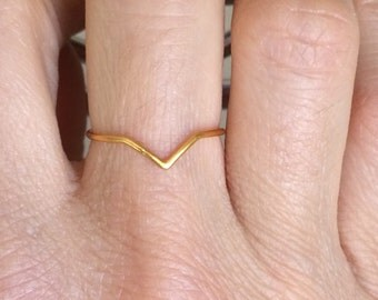 Thin Chevron 24 K Plated Gold Ring- V Ring - Gold Ring - Layering Ring - Everyday Ring- Simple Ring