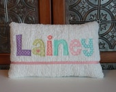 Girl Custom Name Pillow - Baby Girl  Applique Name Pillow, Decorative Baby Name Pillow, Nursery Decor, Personalized Baby Pillow