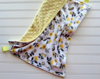 Minky Lovey - Baby Girl - Yellow and Grey Flowers with Yellow Minky Back, Security Blanket, Minky Lovey Blanket