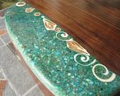 Cutting board-   Figured California Black Walnut  with seashell, mixed turquoise, apatite, malachite and  white mica