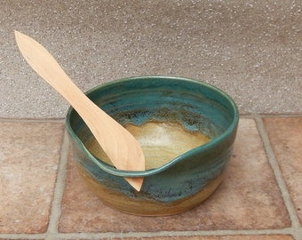 Dip bowl pate dish hand thrown stoneware with a swedish butter knife ceramic