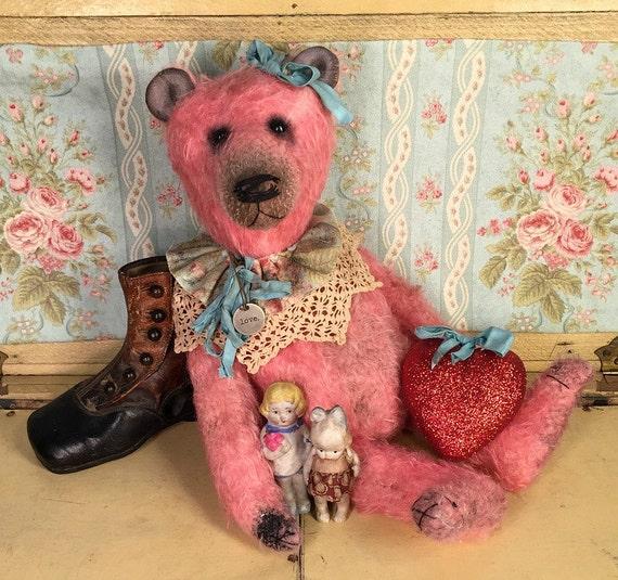 Antique, prim, artist Valentine teddy Bear, mohair, Brady Bears Studio, Shabby, cottage chic, hafair, faap