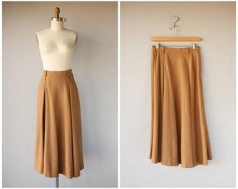 Vintage 1970s Wool Midi Skirt | 1970s Midi Skirt | Vintage 70s Skirt | 1970s Skirt | 70s Camel Wool Skirt | Camel Brown Skirt