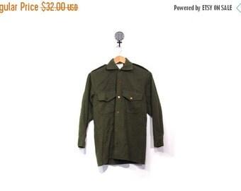 BTS SALE Vintage 80s Wool New Zealand Army Button Up Poplin Epaulet Shirt men women s retro military preppy unisex vestiesteam indie hipster
