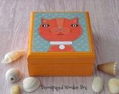 Tabby CAT Wood Box - Wooden Animal Keepsake Boxes -  Kitten themed Tooth Fairy Box - Cat theme Jewelry Box