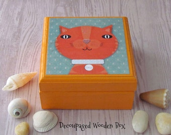 Tabby CAT Wood Box - Wooden Animal Keepsake Boxes -  Kitten themed Tooth Fairy Box - Cat theme Jewelry Box