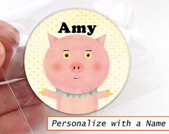 Personalized Pig Magnet, Pin Back Badge or Pocket Mirror - Pink Dotted Pig - Made to Order Original Design by illustrator Walter Silva