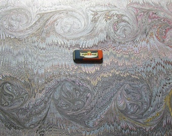 "1   hand  marbled paper, 19.5"" x 27,3"" cm 50 x 70  .Bookbinding  supply, carta marmorizzata. 305b"