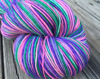 Pretty Lass Hand Dyed Sock Weight Yarn Hand Painted hot pink purple violet emerald green 463 yards handdyed Superwash Merino Wool nylon
