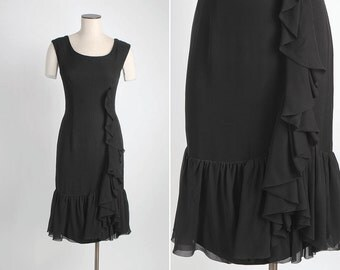 SALE! marked down 15% * 1960s vintage Edward Abbott black silk chiffon ruffle dress 5S917