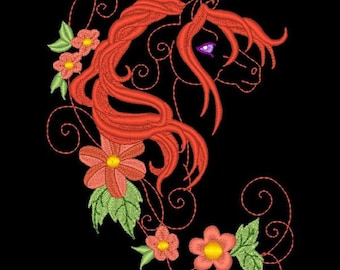 FANTASY FLORAL HORSES #8- 1 Machine Embroidery Design Instant Download 4x4 5x7 6x10 hoop (AzEB)
