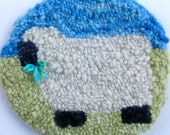 Sheep chair pad traditional rug hooking ready to ship
