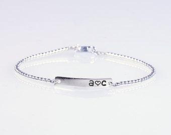 Sterling silver beads Name Bracelet, Personalized bar bracelet, Love Gift, Dainty Name Plate Bracelet,Custom bracelet.Beaded 3 golds