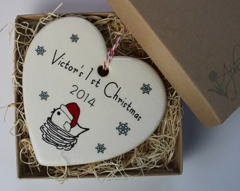 CUSTOM -  Baby's 1st Christmas Ornament - your baby's name and year