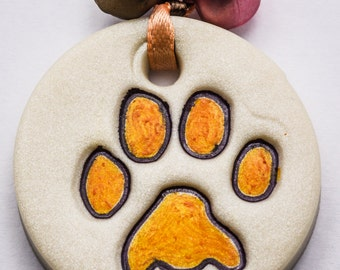Sale / On Sale / Clearance Jewelry / Jewelry on Sale / Marked Down / Precious Paw Print Ornament - Tangerine - OR00034