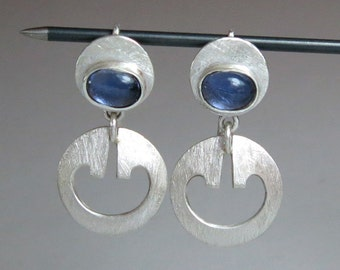 Iolite Earrings - Silver and Iolite Drop Earrings - Silver and Blue Stone Earrings - OOAK Silver Earrings