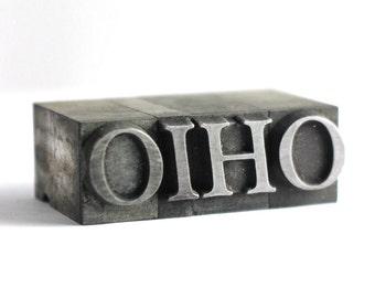OHIO - 36pt Vintage Metal Letterpress