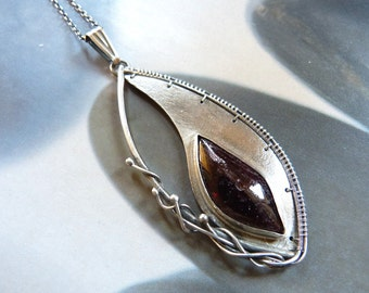 Garnet silver pendant, metalwork wire wrapped necklace, OOAK jewelry, anniversary gift, gift for mother, unique gift, gift for grandmother