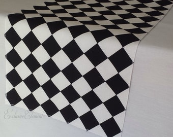 Black and White Table Runner Diamond Wedding Table Centerpiece Black Linens Alice in Wonderland Mad Hatter Party Decor