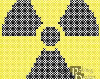 Radioactive Hazard Trefoil Cross Stitch Pattern for Shirt Patch PDF