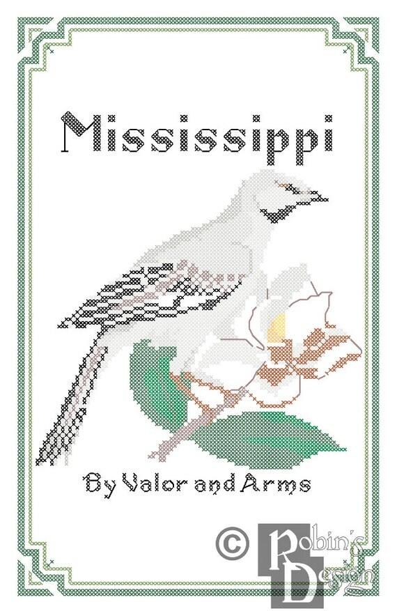 Mississippi State Bird, Flower and Motto Cross Stitch Pattern PDF
