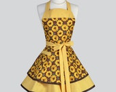Ruffled Retro Aprons - Cute Full Vintage Kitchen Womens Apron Sunny Golden Yellow Fall Sunflowers Flirty Kitchen Cooking Apron Womans Apron