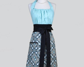 Cute Kitsch Retro Apron /  Horse Blanket features Aqua and Black in a Handmade USA Kitchen Womens Apron