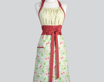 Cute Kitsch Retro Aprons - Full Vintage Kitchen Womans Apron in Rust Red and Lime Green Floral Handmade Hostess Cooking Chef Womens Aprons